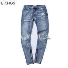 EICHOS New Fashion Men Ripped Jean Hip Hop Jeans Mens Cotton Casual Motorcycle Denim Biker Jeans With Hole Moustache Effect