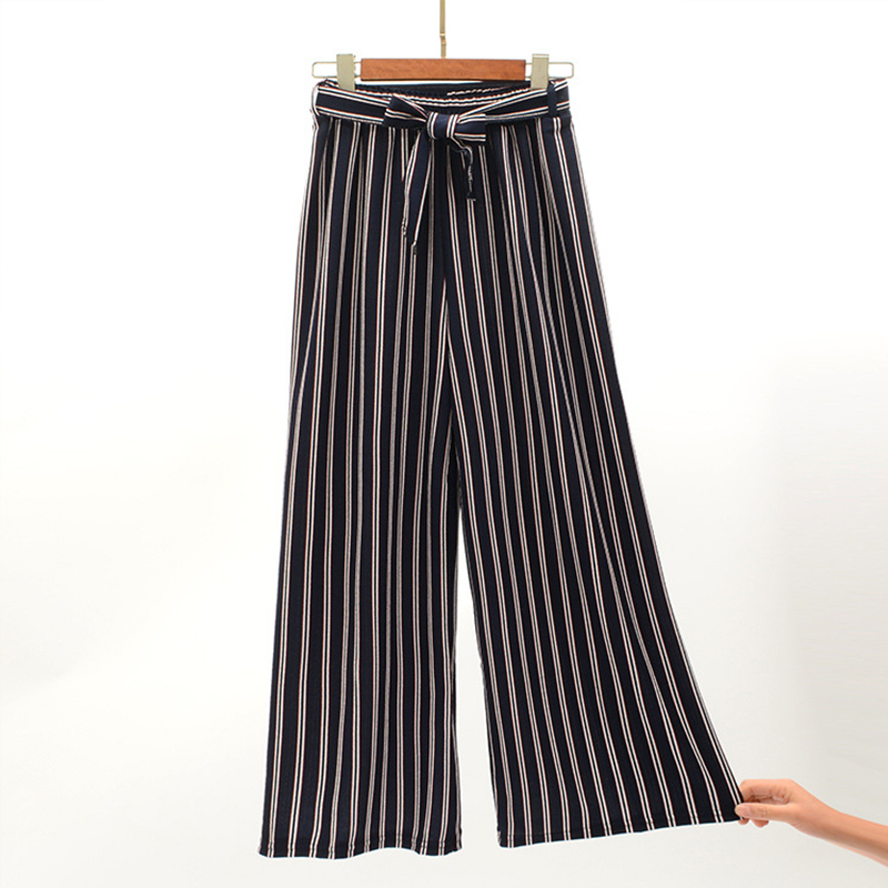 Navy Blue Wide Leg Cropped Pants 2019 Spring Summer Elegant High Waist Women Striped Pants Bow Tie Lace-up Loose Pants 5