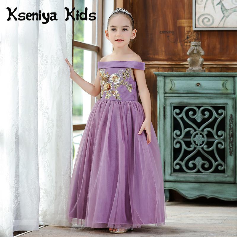 все цены на Kseniya Kids 2018 Autumn Winter Children's Birthday Dress Princess Dress Flower Girl Sequin Wedding Dress Evening Dresses Kids