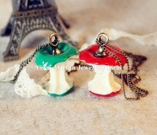 Min.order is $15 (mix order)Fashion vintage style green&red apple shape pendant fruit necklace chain jewelry set Hot Sell