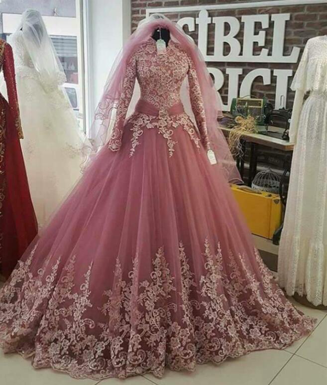 Vintage Vestido De Noiva 2018 Muslim Wedding Dresses Ball Gown Long Sleeve Lace Turkey Dubai Arabic Wedding Gown Bridal Dresses