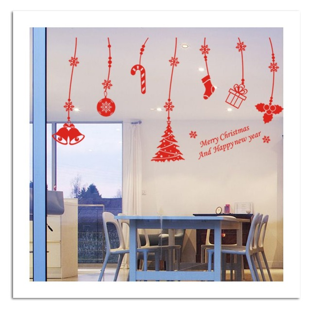 Merry Xmas Наклейка Рождественские Украшения Наклейки Новый Год Подарок Дерево Снег Стикер-наклейка