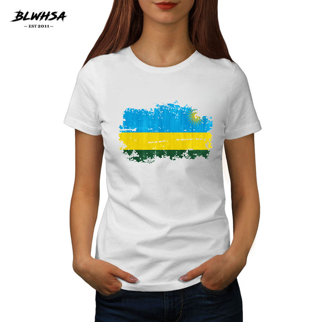 e67b9590ea BLWHSA Summer Nostalgic Women's T Shirt Rwanda National Flag Printed 100%  Cotton Fashion College Style
