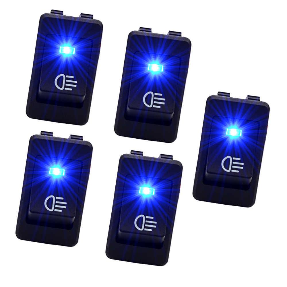 5 pièces bateau Rocker lumière bleue LED 4 broches 35A 12 V interrupteur à bascule balançoire universel voiture interrupteur d'alimentation pour voiture Auto tableau de bord jouets