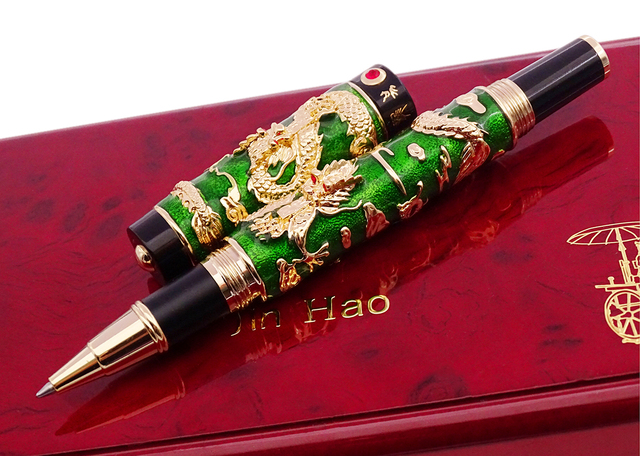 יוקרה בעבודת יד Jinhao רולר כדור עט, ירוק אמייל כפול דרקון עט מתקדם מלאכת כתיבה מתנה עט עבור עסקים בוגר