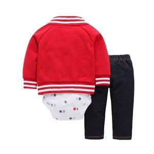 Image 3 - 2020 חדש אדום ילד בגדי 100% כותנה מעיל + מכנסיים + תינוק romper סתיו חורף סטי 6 ~ 24 חודשים בגד גוף תינוקות בני סטי בגדים