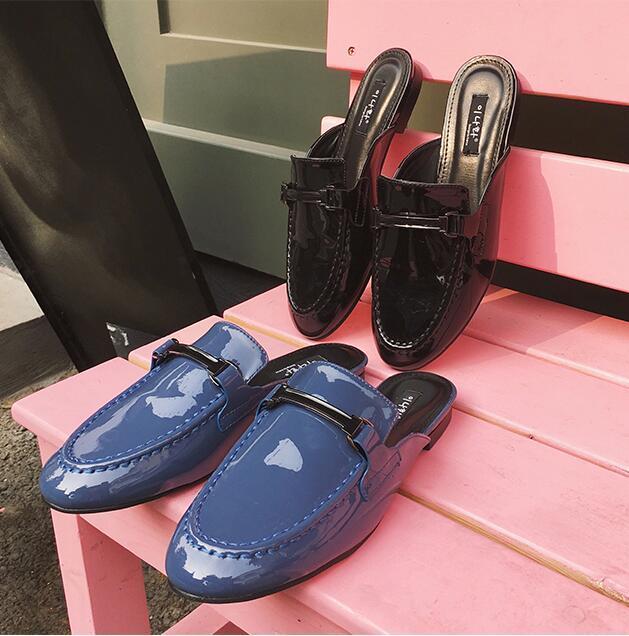 Мода 2017 квадратный носок винтажные тапочки плоская подошва кожа металлическая цепь плоской подошве с закрытым носком