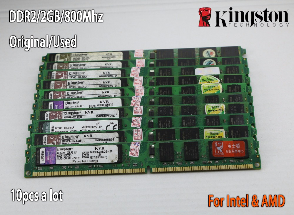 Used Kingston Desktop RAM DDR2 2GB 2g PC2-6400 800MHz 667Mhz 10 pieces PC DIMM Memory RAM 240 pins For AMD for intel 2g 4g brand new ddr1 1gb ram ddr 400 pc3200 ddr400 for amd intel motherboard compatible ddr 333 pc2700 lifetime warranty