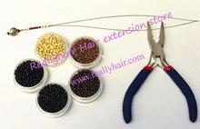 5000pcs Silicone Nano rings 1pcs two hole plier 1 pcs NanoRings hook needle for NanoRings hair