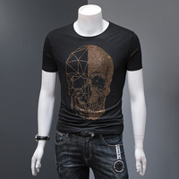 2019 Skull Rhinestone Men Brand Short Sleeve T Shirts Fashion Man Streetwear O Neck Slim Modal Cotton 100% Plus Size Man Tshirt