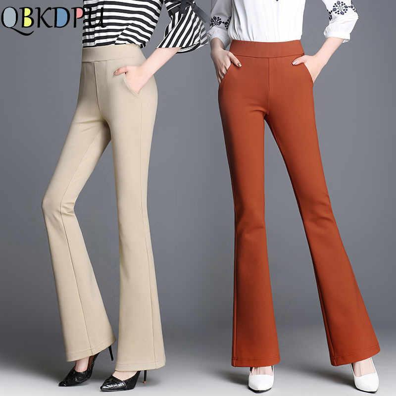 Pantalones Acampanados Ol Elasticos De Talla Grande Para Mujer Pantalones De Negocios De Nivel Alto Cintura Solida Pantalones De Pierna Ancha Pantalones De Trabajo De Oficina Para Mujer Pantalones Pitillo Con Campana Pantalones