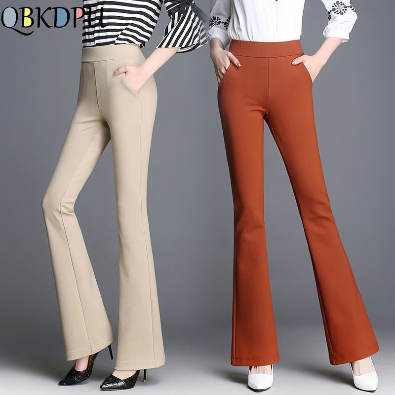 Plus Size Stretch Womens OL Flared Pants Business High Waist Solid Wide Leg Trousers Work Office Lady Skinny Bell Bottom Pants
