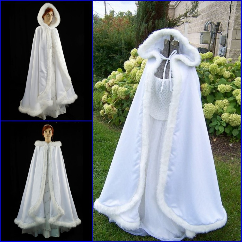 White Hooded Cloak with Fur Cape Winter Wedding