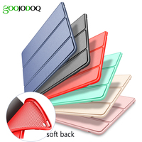For IPad Air 2 Silicone Case Smart Cover Soft TPU Back PU Leather Flip Stand For