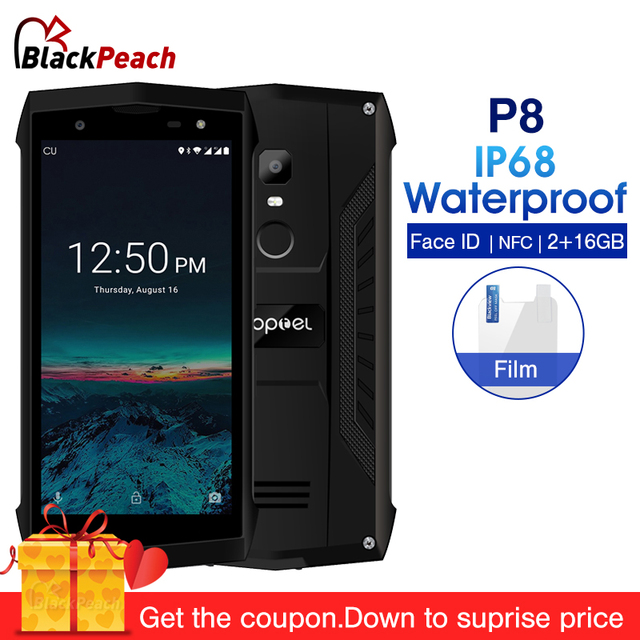 POPTEL P8 IP68 Waterproof 5.0 inch Smartphone Android 8.1 2GB RAM 16GB ROM MTK6739 Quad Core 8MP NFC 4G LTE Mobile Phone