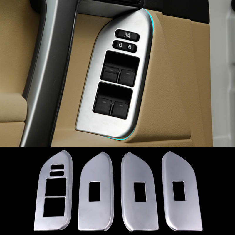 2016 Car Styling Stainless Steel 4pcs/set Interior Door Window Lift Switch Panel Cover For Toyota Prado Decoration Accessories for jac refine s5 mk1 mk2 2013 2014 2015 2016 stainless steel car styling auto full window cover trim garnish strips 20pcs set