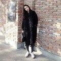 high quality wool korean fashion loose plus size overcoat long black woolen cocoon coat women bomber jacket 2016 autumn winter