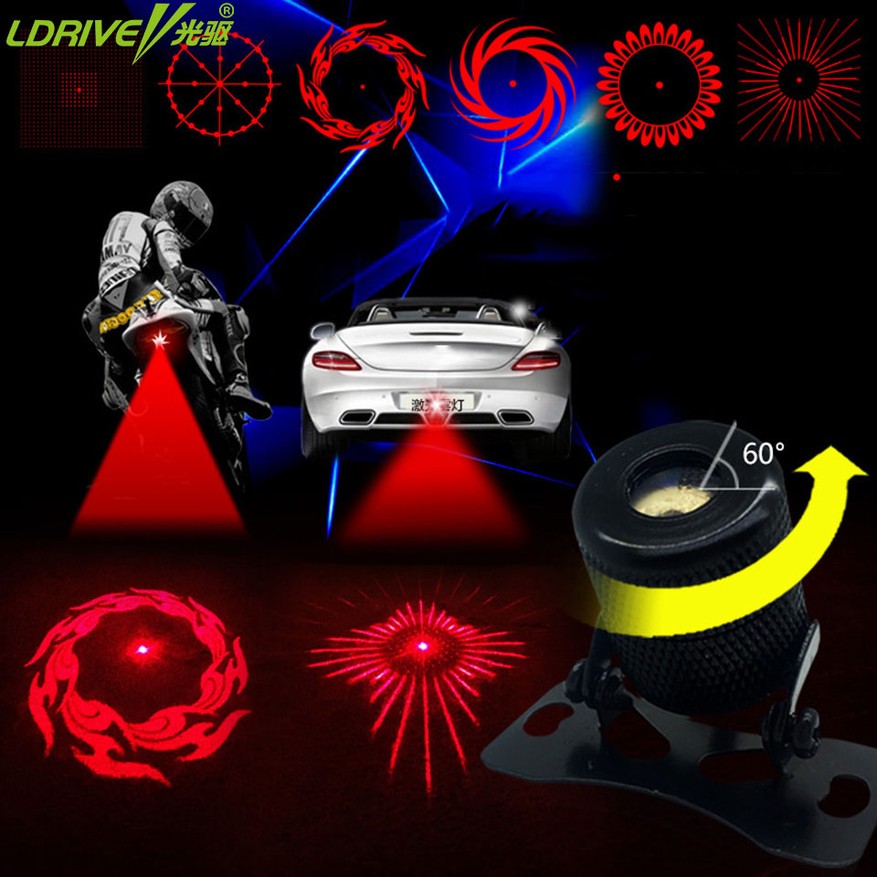 2017 New arrival Universal car laser fog lights Anti Collision Warning 6Pattern Type C for vw ford honda audi bmw toyota nissan car tracing cauda laser light for volkswagen vw jetta mk6 bora 2010 2014 special anti fog lamps rear anti collision lights