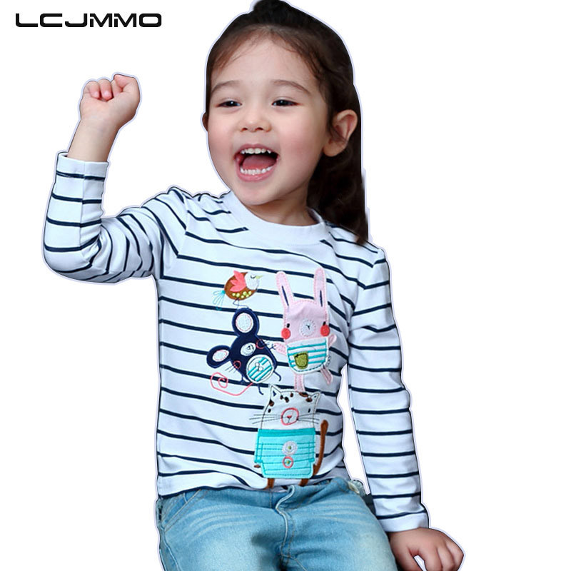 LCJMMO 2018 New Cartoon Girls Tshirts Long Sleeve Striped Kids T-shirts Clothes Casual Print Baby Girl Tops Blouse T-Shirt 1-7Y