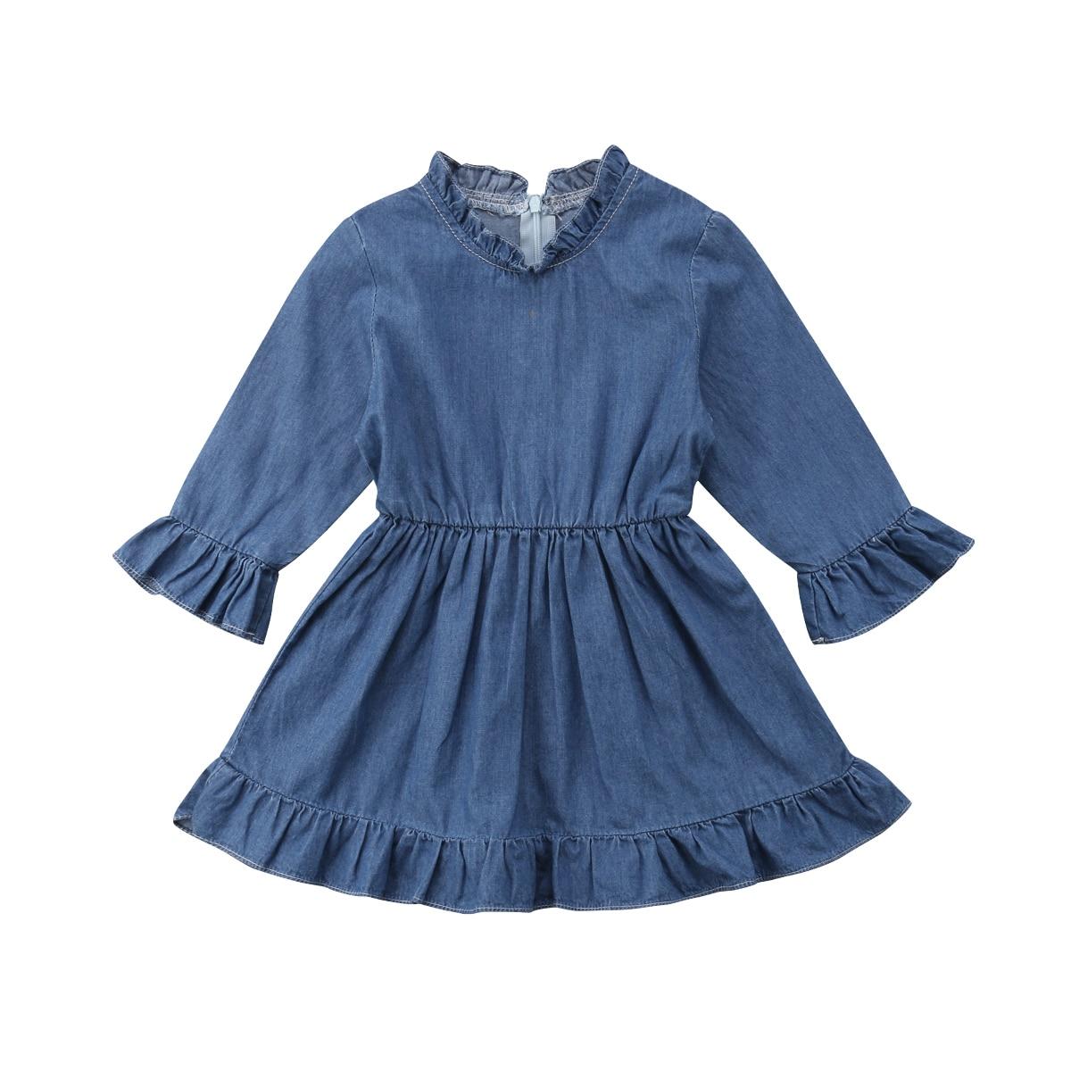 0-18 Mt Neugeborenen Baby Mädchen Denim Kleid Langarm Rüschen Prinzessin Kinder Mini Kleider Sommerkleid Kleidung