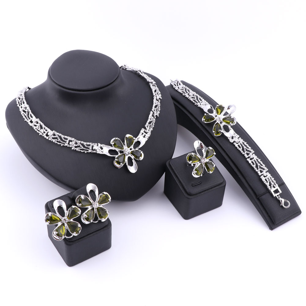 Color Flower Freeshipping Luxury Gold/Silver Plated Crystal Necklace Earrings Ring Bracelet Jewelry Sets For Feme Wedding Party