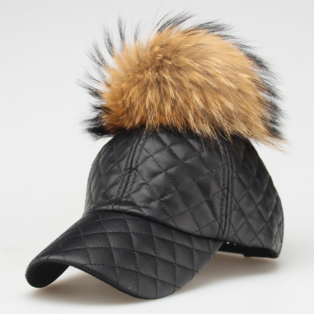 2018 15CM Real Raccoon Fur Pompoms Hats Hip Hop Cap Winter Hats For Women NEW AUTUMN  Female Warm PU Leather Baseball Cap
