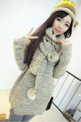 Pullover Cardigan New Women's Sweater Clothing Han Edition Loose Round Neck Sleeve Winter Knit Shirt Natural Color 2016 Sale