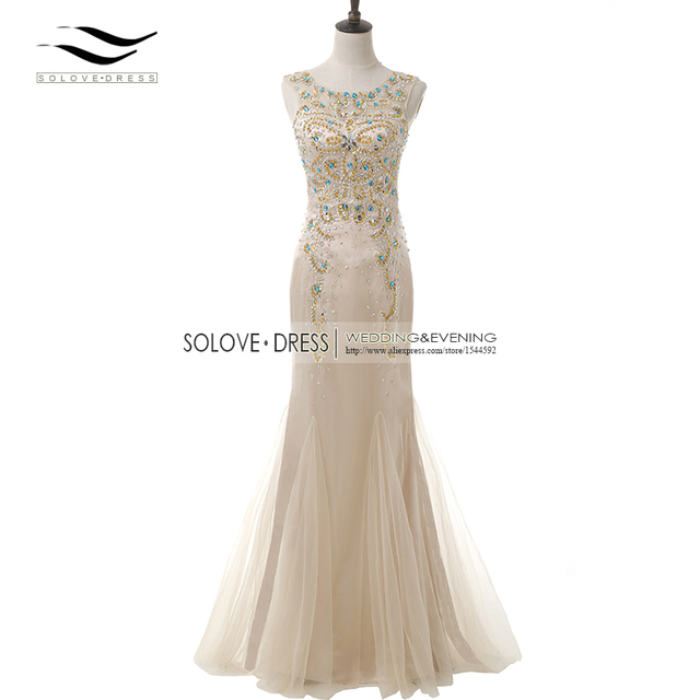 Real Photos Scoop Sparking Champagne Beaded Prom Dress Mermaid Long ...