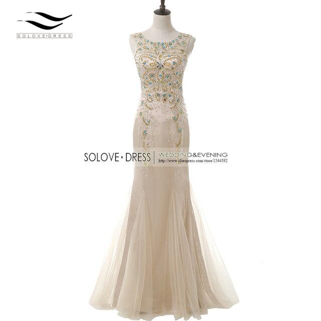 9e8a04d2ac4f0 Real Photos Scoop Sparking Champagne Beaded Prom Dress Mermaid Long Evening  Gown Sequin Vestidos De festa longo 2018 SLE000204