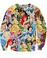 2015 mulheres / homens 3d princesa impresso camisola branca de neve / cinderela / Aurora / Ariel sereia / Belle Princess moletons hoodies