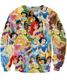 2015 women/men 3d Princess printed sweatshirt  Snow White/Cinderella/Aurora/Ariel Mermaid/Belle Princess sweatshirts hoodies