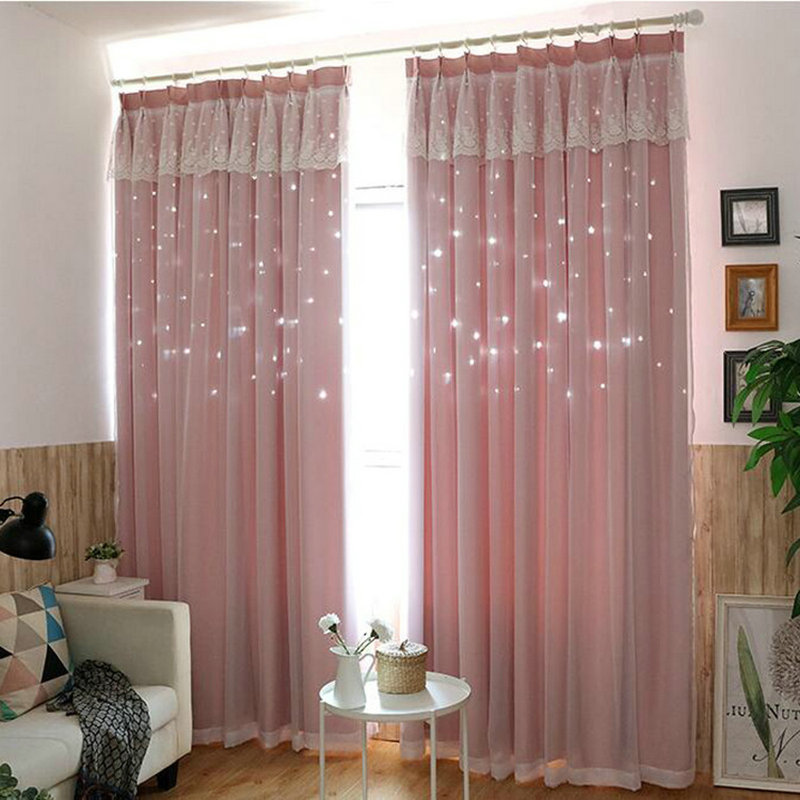 New Style Lace Stitching Hollow Star Blackout Curtain Fabric for Living Room Princess Children Room Curtain Hollow Out With Star