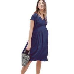 Шифон для беременных Для женщин Облаченный Ruched платье для беременных с внешние кнопки v-образным вырезом по колено Беременность Vestidos