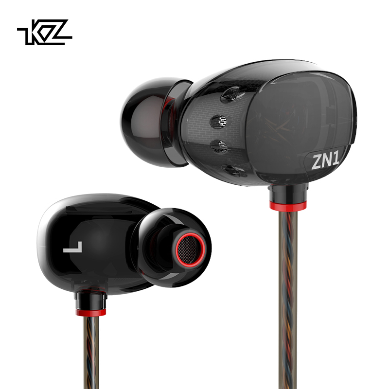 KZ ZN1 Earphones 3.5mm In Ear Earphone Sport Running HIFI Earphone Super Bass Noise Canceling Earbuds Copper Driver for iphones kz hd9 sport headphone copper driver original hifi sport earphones in ear earbuds for running with microphone game headset