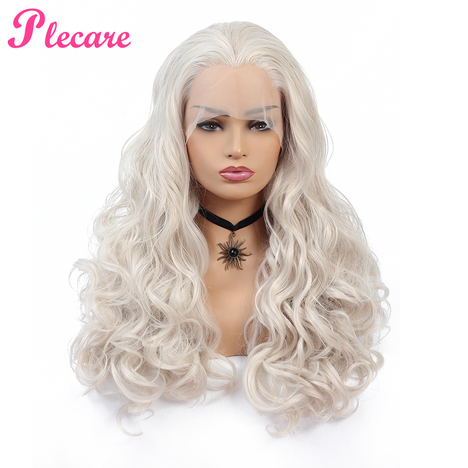 Plecare Synthetic Lace Front Wig Long White #60 Wavy Wigs For Black Women Wave Hair Female  Puriken  Wigs