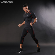 GANYANR Mens Sports Suits Jogging Running Set Compression T Shirt Short Sleeve Gym Sports Sportswear Basketball Pants Workout недорого