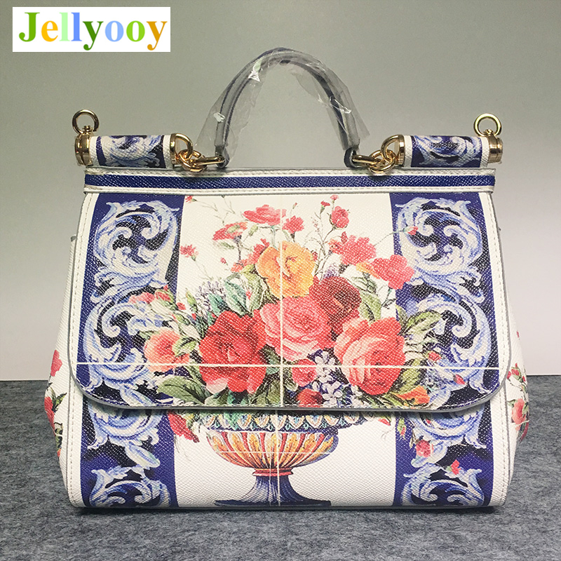 Bags Female 2018 Luxury Italy Brand Sicily Casual Tote Women Handbag Genuine Leather Bag Floral Printing Platinum Messenger Bags luxury italy brand sicily ethnic bag genuine leather women casual tote platinum bags star moon print lady shoulder messenger bag