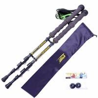 1 Pair Walk Stick High Quality Carbon Fiber Pole Detachable Portable Adjustable Length Climbing Stick Bag