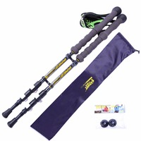 1 Pair Walk Stick High Quality Carbon Fiber Pole Detachable Portable Adjustable Length Climbing Stick Bag