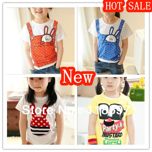 2013 Children Summer Korean children's clothing wholesale trade girls thin T-shirt  printed short-sleeve children t shirt
