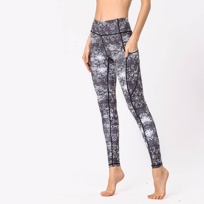 NORMOV 2019 New Womens Fitness Leggings High Waist Printing Pocket Workout Skinny Elastic Force Leggings Casual Slim Leggings