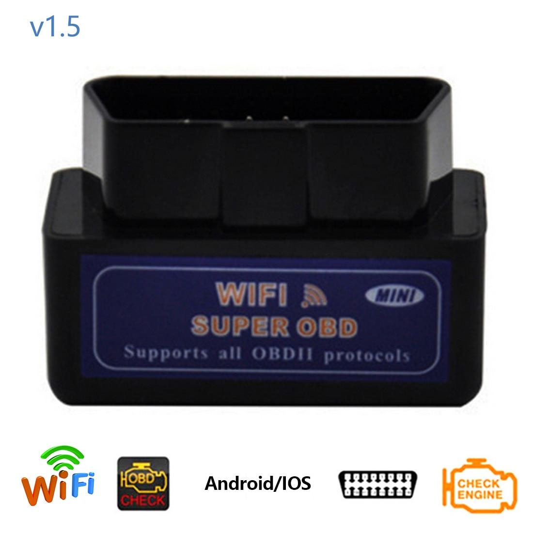 Dewtreetali OBDII ELM327 WIFI PIC18F25K80 Puce V1.5 Logiciel Pour iOS/Android Voiture Lecteur de Code OBD 2 Outil De Diagnostic Scanner