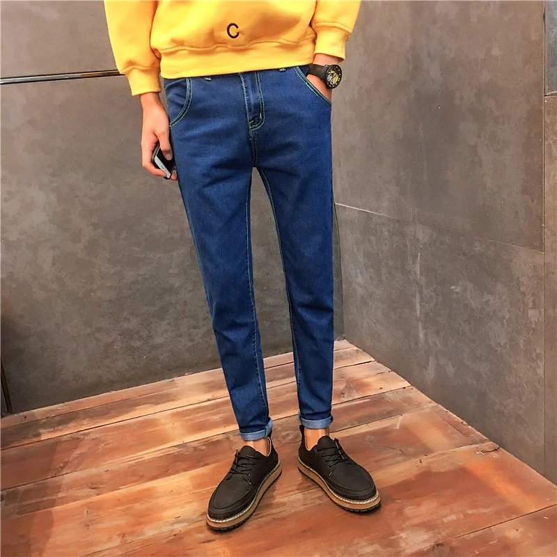 young slim feet elastic student leisure male trousers skinny design Winter Japanese embroidery jeans top quality 644