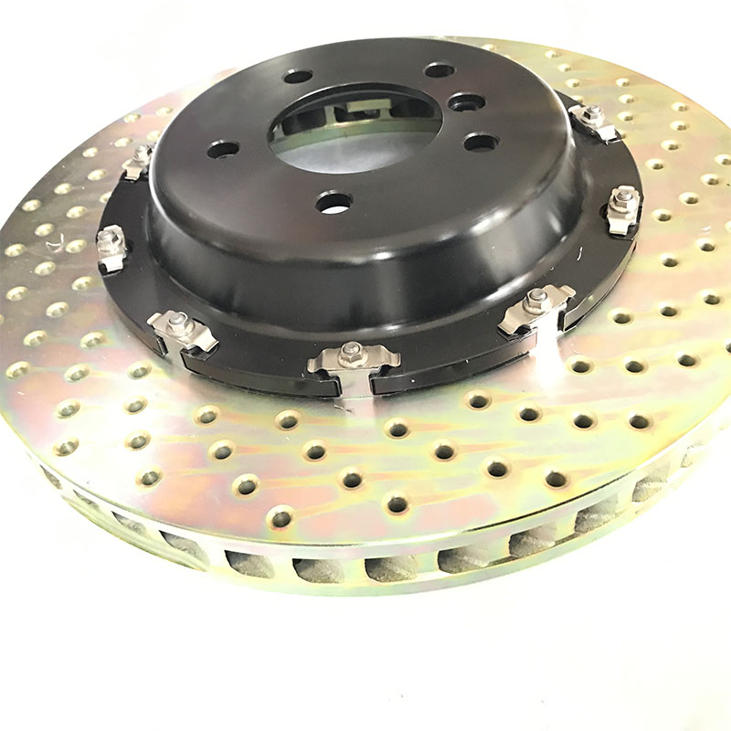 Jekit Automobile Brake rotors 380*34mm drilled pattern disc with customized center bell for audi a6 c5/audi a3/alfa romeo