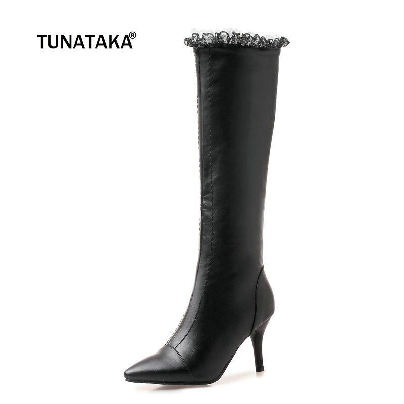 Women Thin Heel Sexy Lace Knee High Boots Fashion Side Zipper Boots Ladies Pointed Toe Fall Winter Shoes Black White Green women side zipper sexy thin high heel over the knee boots fashion pointed toe warm winter nightclub shoes red black white 2018