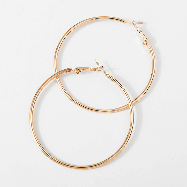 40mm 60mm 70mm 80mm Exaggerate Big Smooth Circle Hoop Earrings Brincos Simple Party Round Loop Earrings for Women Jewelry 2