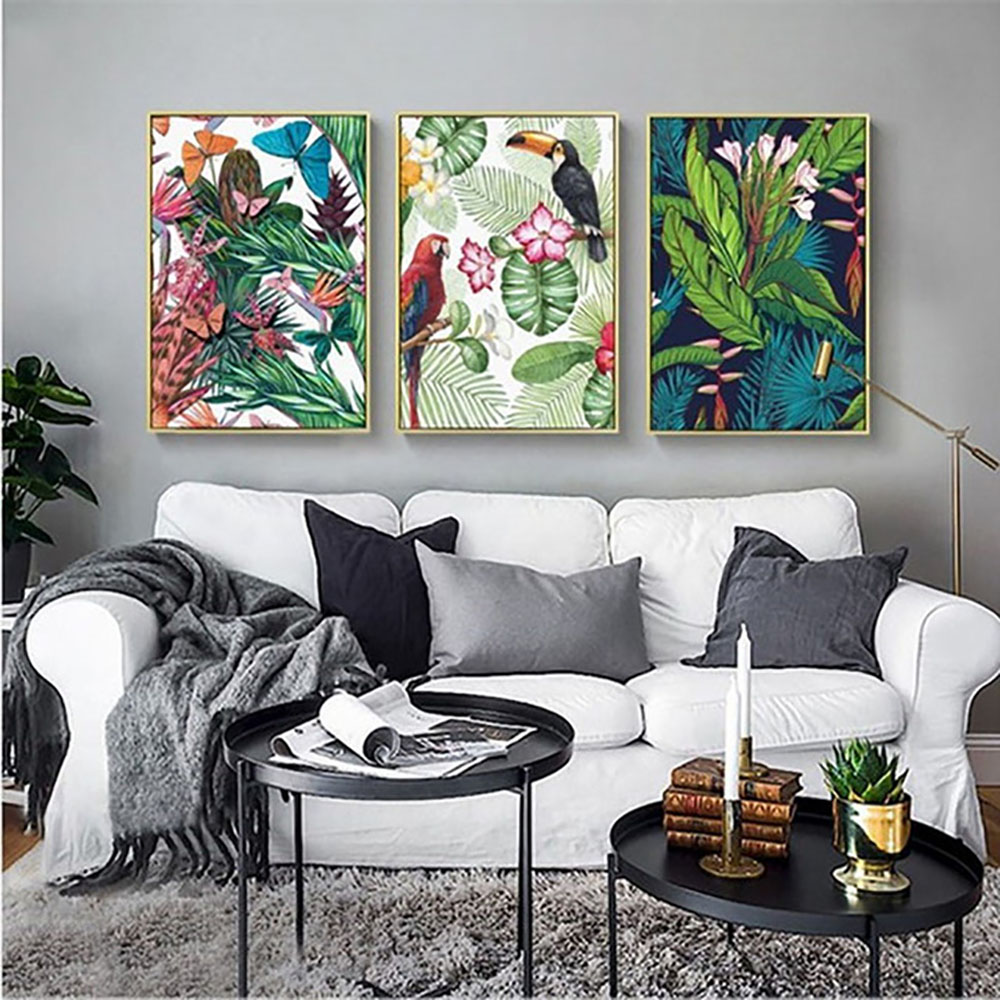 Wall Art Nordic Flower Green Plant Bird Poster Print Toucan Parrot Flamingo Pictures Canvas Painting Living Room Home Decoration in Painting Calligraphy from Home Garden