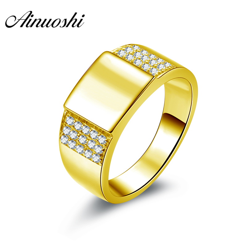 AINUOSHI Generous Smooth Gold Men Ring 10K Solid Yellow Gold Male Ring 3 Rows Drill Engagement Wedding Jewelry 7.9g Wedding Band цена и фото