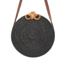 Rattan womens bag bow black round rattan Ins Bohemia popular diagonal beach 2019 new summer style