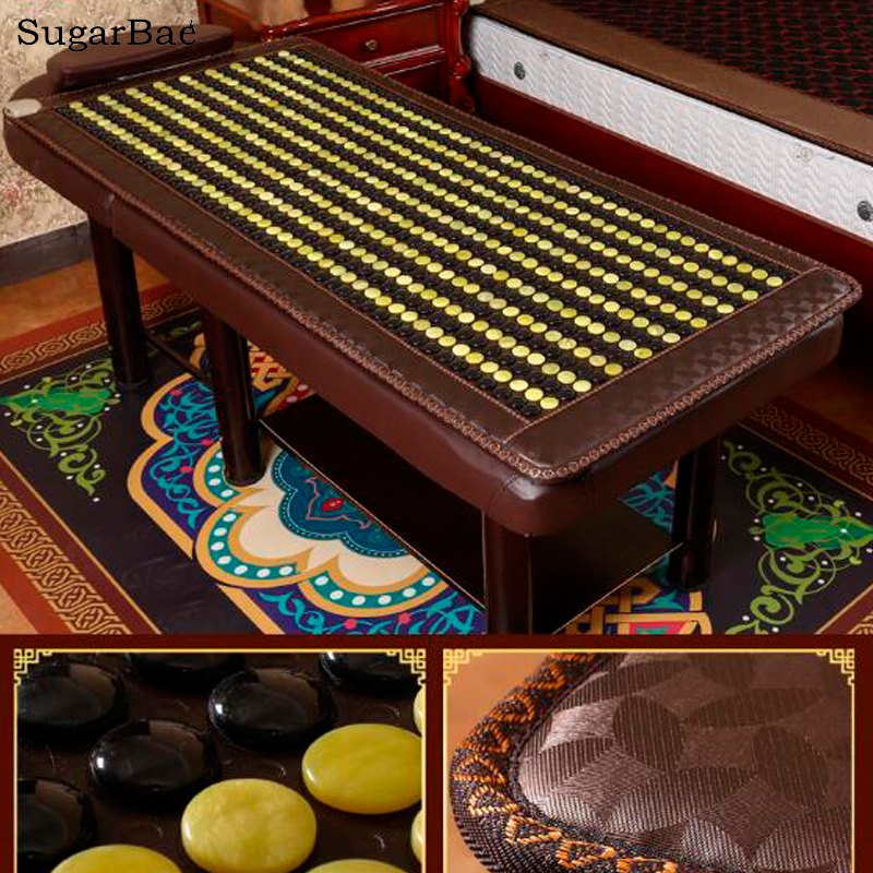 2017 High Quality Electric Yellow Jade Massage Mattress Heating Germanium Sleeping Mattress Far Infrared Negative Ion Beauty Mat 2016 jade tourmaline electric heating massage mattress with far infrared high quality products directly from factory 1 2x1 9m